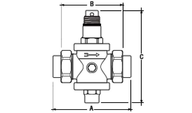 Габаритная схема редуктора давления компрессионного F.I.V. GP 2028 американка