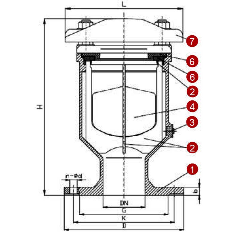 Габаритная схема вантуза однокамерного T.I.S. E051