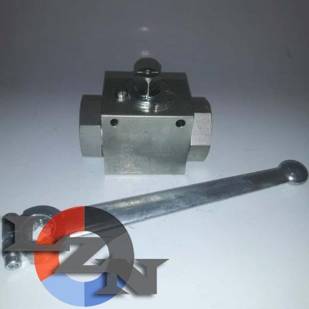 Блочный шаровый кран трехходовой DN20 G3/4 PN400 - фото №1